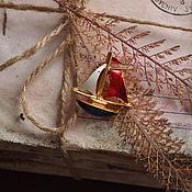 Винтаж handmade. Livemaster - original item The Boat brooch, enamel, vintage. Handmade.