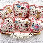 Подарки к праздникам handmade. Livemaster - original item Hearts Valentine Pink Textile Set 3pcs. Handmade.