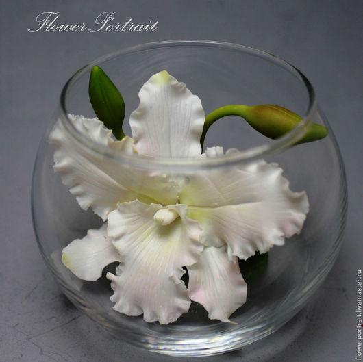 Интерьерные композиции ручной работы. Ярмарка Мастеров - ручная работа. Купить Композиция с орхидеей Каттлея из полимерной глины. Handmade. Белый