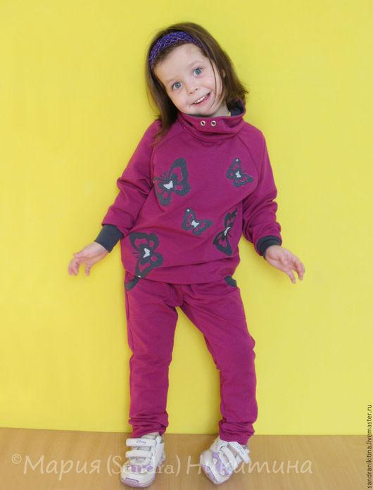 Одежда для девочек, ручной работы. Ярмарка Мастеров - ручная работа. Купить Костюм для девочки. Handmade. Брусничный, трико, для детей