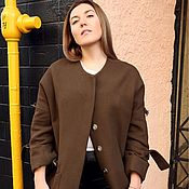 Одежда ручной работы. Ярмарка Мастеров - ручная работа Шерстяное пальто цвета Хаки. Handmade.