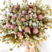 Цветы и флористика ручной работы. Ярмарка Мастеров - ручная работа «Песенка теплого лета» букет из сухоцветов. Handmade.