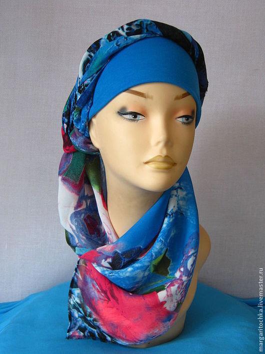 """Повязки ручной работы. Ярмарка Мастеров - ручная работа. Купить """"Круиз"""" - 04 пляжный головной убор хиджаб. Handmade. Голубой"""