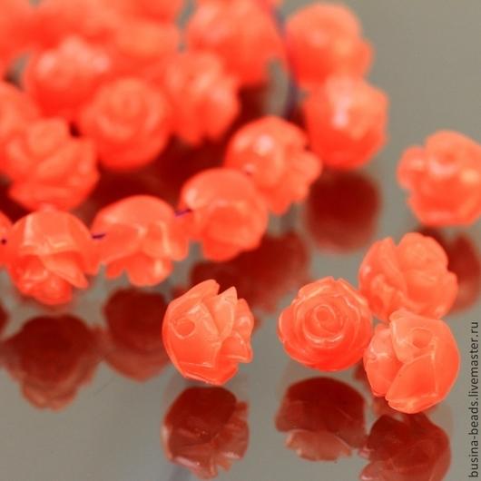 Бусины Розочка розового цвета из полимера имитирующего натуральный коралл для сборки украшений диаметром около 8 мм комплектами по 5 штук