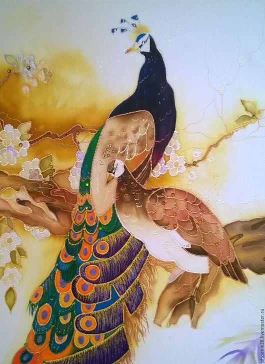 """Животные ручной работы. Ярмарка Мастеров - ручная работа. Купить Картина """"Павлины"""", батик-панно. Handmade. Батик, купить батик"""