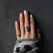 Украшения ручной работы. Ярмарка Мастеров - ручная работа Серое кожаное кольцо с черепом SWAROVSKI, набор из 3-х колец. Handmade.