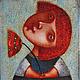 """Фантазийные сюжеты ручной работы. Ярмарка Мастеров - ручная работа. Купить """"Девочка с цветком"""" , авторская печать. Handmade. Голубой"""