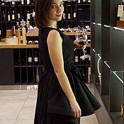 Одежда ручной работы. Ярмарка Мастеров - ручная работа Черное вечернее платье со шлейфом из жаккарда. Handmade.