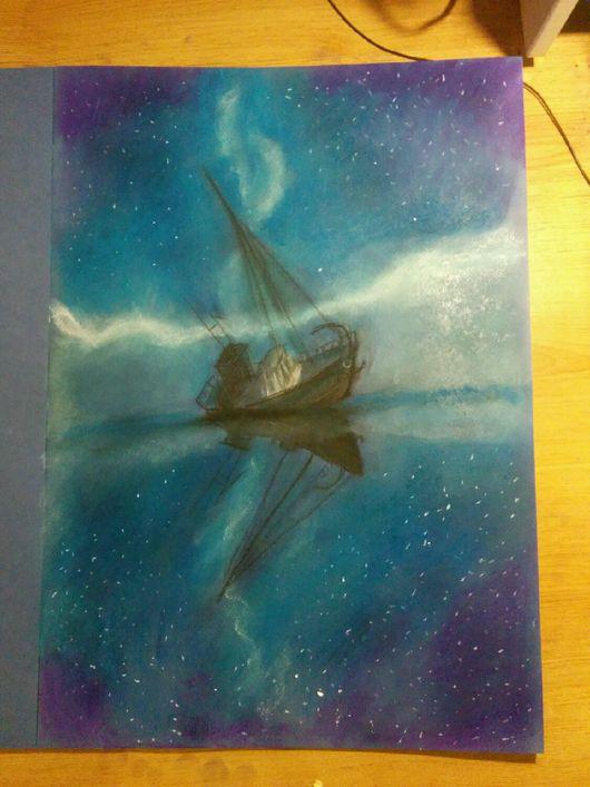 Натюрморт ручной работы. Ярмарка Мастеров - ручная работа. Купить звездный путь. Handmade. Корабль, яхта, шхуна, ночь, море