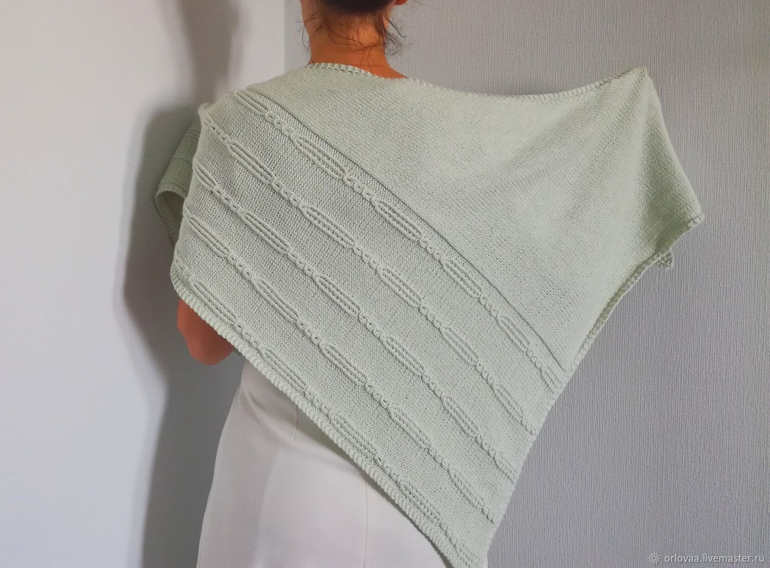 Shawl cotton silk 'pale mint', Shawls, Moscow,  Фото №1