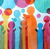 Картины и панно ручной работы. Ярмарка Мастеров - ручная работа Ангелы. Абстракция. Акварель.. Handmade.