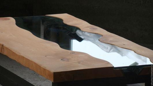 Мебель ручной работы. Ярмарка Мастеров - ручная работа. Купить Стол из кедра в стиле лофт Бирюзовая Катунь. Handmade. Коричневый