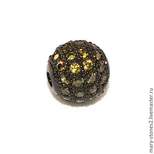 Для украшений ручной работы. Ярмарка Мастеров - ручная работа. Купить Бусина шар 8мм с оливковыми фианитами черная (Milano). Handmade.