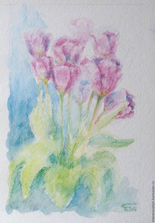 """Картины цветов ручной работы. Ярмарка Мастеров - ручная работа. Купить картина """"Тюльпаны навсегда"""" рисунок акварельными карандашами. Handmade."""