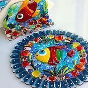 Посуда ручной работы. Ярмарка Мастеров - ручная работа комплект из стекла, фьюзинг Синее море. Handmade.