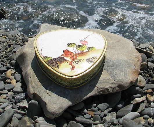 Шкатулки ручной работы. Ярмарка Мастеров - ручная работа. Купить Шкатулка с лягушкой из Хокусая. Handmade. Салатовый, японский стиль, распечатка