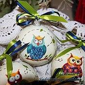 Подарки к праздникам ручной работы. Ярмарка Мастеров - ручная работа новогодние шары Совушки. Handmade.