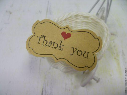 Упаковка ручной работы. Ярмарка Мастеров - ручная работа. Купить Крафт-наклейка Thank you 2 для работ handmade. Handmade.