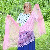 Аксессуары handmade. Livemaster - original item Wraps: Openwork stole-gossamer downy pink shade. Handmade.