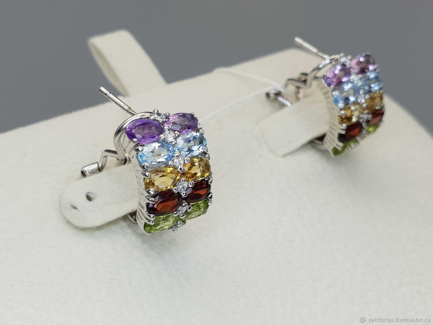 Earrings with topaz, amethyst, citrine, chrysolite and garnet, Earrings, Moscow,  Фото №1