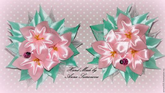 """Детская бижутерия ручной работы. Ярмарка Мастеров - ручная работа. Купить Резиночки для волос """"Полевые цветы"""". Handmade. Бледно-розовый"""