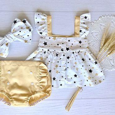 Товары для малышей ручной работы. Ярмарка Мастеров - ручная работа Комплекты одежды: Комплект из хлопка,топ,блумеры,афробант. Handmade.
