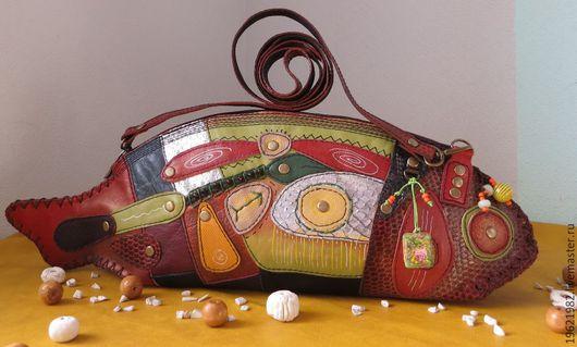 Женские сумки ручной работы. Ярмарка Мастеров - ручная работа. Купить сумка-рыба ЗЕЛЁНЫЙ ОСТРОВ РАДОСТИ из кожи. Handmade.