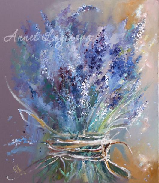 Картины цветов ручной работы. Ярмарка Мастеров - ручная работа. Купить Весна в цвете Lavender. Handmade. Нежность, васильковый, лавандовый