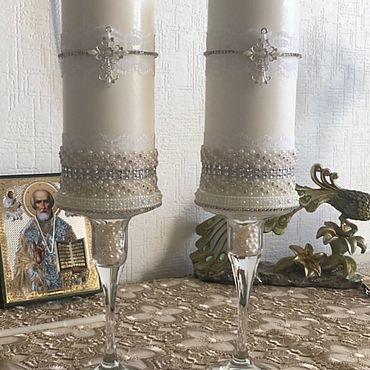 Свадебный салон ручной работы. Ярмарка Мастеров - ручная работа Свечи на Крестины ( крестильные свечи). Handmade.