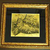 Картины и панно ручной работы. Ярмарка Мастеров - ручная работа Рысь картина из сусального золота с изображением рыси. Handmade.