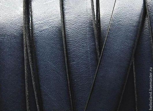 Для украшений ручной работы. Ярмарка Мастеров - ручная работа. Купить Кожаный шнур плоский 10 мм, серый. Handmade.