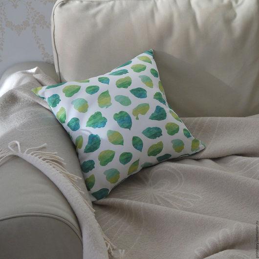 Текстиль, ковры ручной работы. Ярмарка Мастеров - ручная работа. Купить Интерьерная подушка с принтом Листья. Handmade. Комбинированный, зеленый
