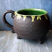 Посуда handmade. Livemaster - original item Witch`s Cauldron Mug with green potion. Handmade.