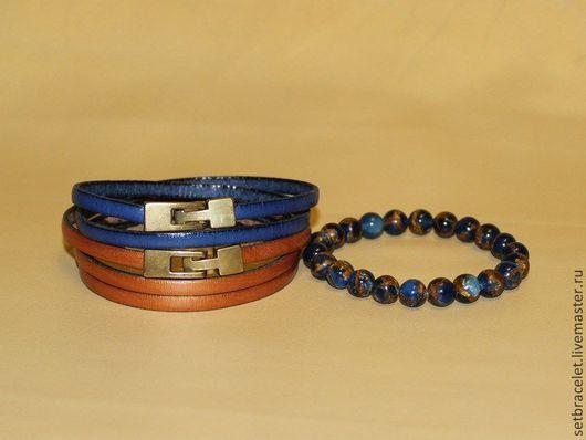 Браслеты ручной работы. Ярмарка Мастеров - ручная работа. Купить Женские кожаные браслеты комплект: синий, бронзовый (5мм) с варисцитом. Handmade.