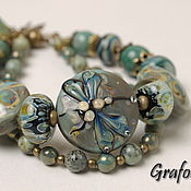 Украшения handmade. Livemaster - original item Bracelet with a dragonfly -green. Handmade.