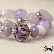 Украшения handmade. Livemaster - original item Bracelet with stones Lavender. Handmade.