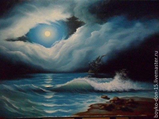 """Пейзаж ручной работы. Ярмарка Мастеров - ручная работа. Купить """"Буря"""" х.м. 40х60. Handmade. Синий, картина для интерьера"""