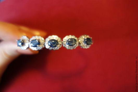 """Браслеты ручной работы. Ярмарка Мастеров - ручная работа. Купить """"Млечный путь"""" - серебряный браслет со звездчатыми сапфирами. Handmade."""