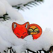 Украшения ручной работы. Ярмарка Мастеров - ручная работа брошь Лиса и сова, ручная роспись, оранжевый. Handmade.