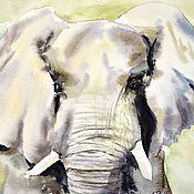 """Картины и панно ручной работы. Ярмарка Мастеров - ручная работа Картина акварелью """"Слон"""". Handmade."""