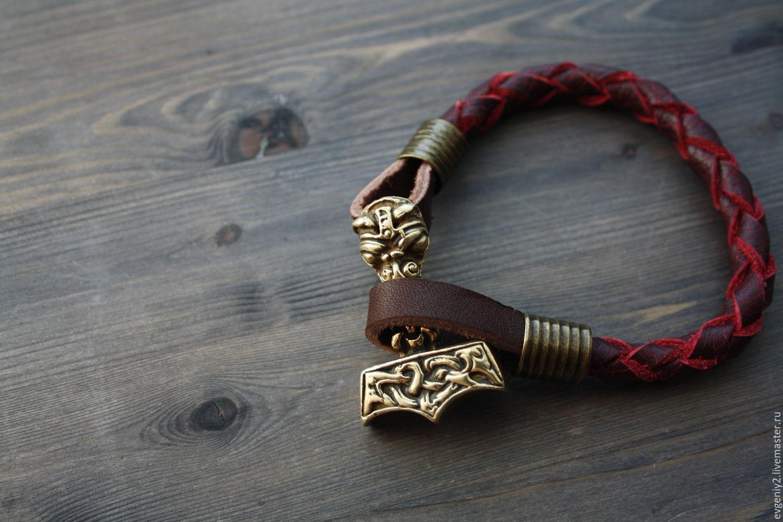 Leather bracelet with THOR's HAMMER, Bead bracelet, Volgograd,  Фото №1