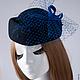 """Шляпы ручной работы. Ярмарка Мастеров - ручная работа. Купить Шляпка-таблетка """"Синие сумерки"""". Handmade. Черный, шляпка из фетра"""