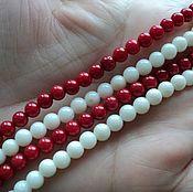 Материалы для творчества handmade. Livemaster - original item Genuine coral 5mm beads, 2 colors of thread 20cm. Handmade.