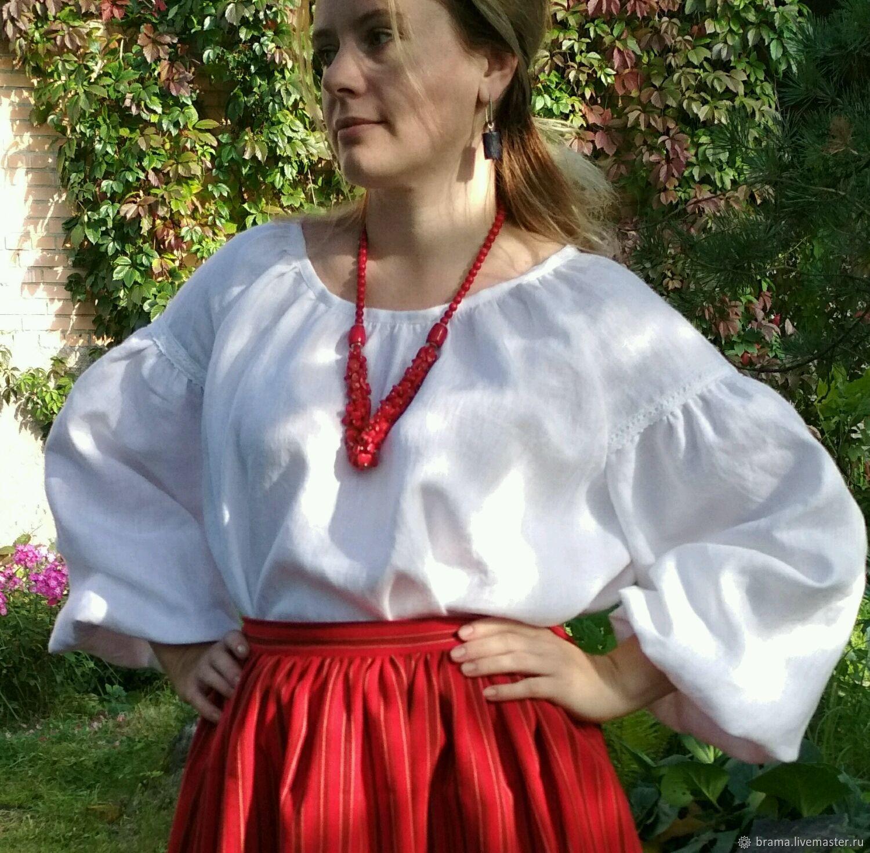 Одежда ручной работы. Ярмарка Мастеров - ручная работа. Купить Блуза льняная. Handmade. Русский стиль, блуза белая