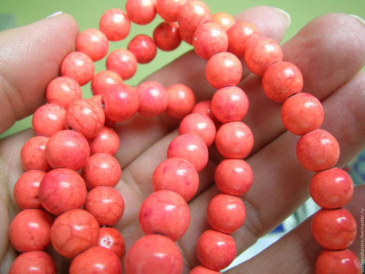 Для украшений ручной работы. Ярмарка Мастеров - ручная работа. Купить Бусина ярко-оранжевая из прессованного камня. Диаметр 8мм. Handmade.