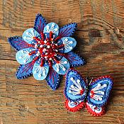 Украшения ручной работы. Ярмарка Мастеров - ручная работа Комплект брошей цветок и бабочка Морской. Handmade.