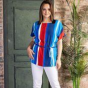 Одежда handmade. Livemaster - original item A copy of the work a Bright blouse made of viscose with a drawstring. Handmade.