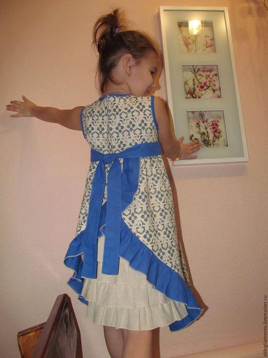 """Одежда для девочек, ручной работы. Ярмарка Мастеров - ручная работа. Купить сарафан """"Льняночка"""". Handmade. Синий, сарафан для девочки"""