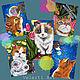 Аппликации, вставки, отделка ручной работы. Набор: «Summer Cats». Velerti Art. Интернет-магазин Ярмарка Мастеров. Коты