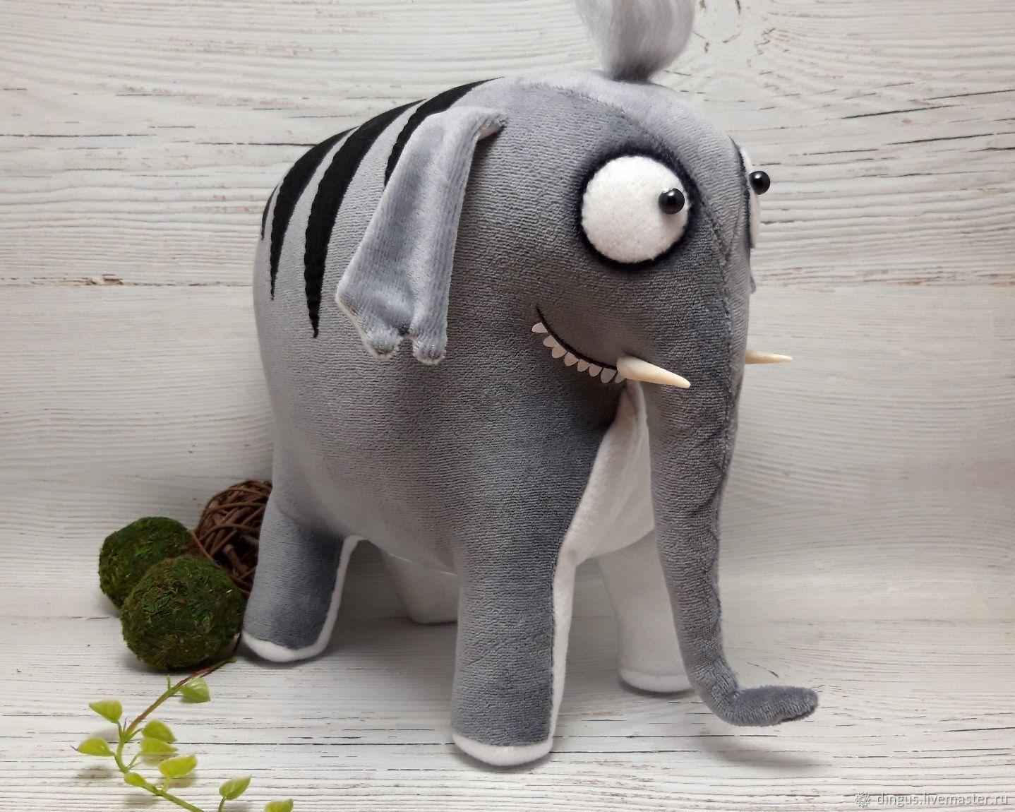 Слон редкий полосатый, мягкая игрушка серый слон, Мягкие игрушки, Москва,  Фото №1